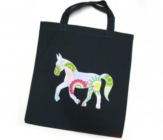 Stofftasche statt Plastiktüte! ~ dunkelblau, Pferd ~ Einkaufsbeutel ~ Handarbeit - Handarbeit kaufen