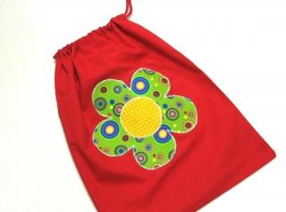 Turnbeutel - Sportbeutel - Beutel rot mit Blume - Handarbeit kaufen