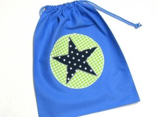 Turnbeutel - Sportbeutel - Beutel blau mit Stern - selbstgenäht