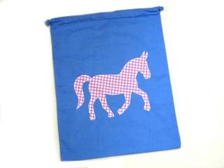 Turnbeutel - Sportbeutel - Beutel blau mit Pferd - Handarbeit - Handarbeit kaufen