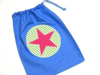 Turnbeutel - Sportbeutel - Beutel blau mit Stern - selbstgenäht - Handarbeit kaufen