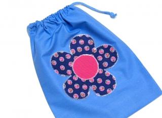Turnbeutel - Sportbeutel - Beutel blau mit Blume - Handarbeit - Handarbeit kaufen
