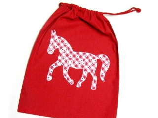 Turnbeutel - Sportbeutel - Beutel rot mit Pferd - Handarbeit kaufen