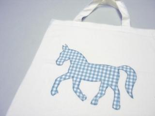 Stofftasche statt Plastiktüte! ~ weiß, Pferd ~ Einkaufstasche ~ Handarbeit