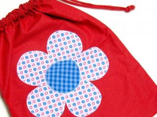 Turnbeutel - Sportbeutel - Beutel rot mit Blume - Handarbeit - Handarbeit kaufen