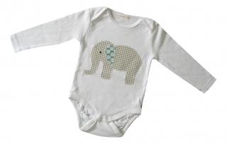 Gr: 86    Baby - Body mit Elefant - Retro - Handarbeit kaufen