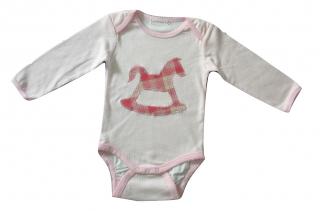 Gr: 86 Baby-Body mit Schaukelpferd, rosa-weiß kariert