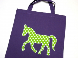 Stofftasche statt Plastiktüte! ~ blau, Pferd ~ Einkaufstasche ~ Handarbeit