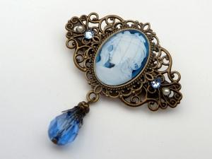 Kleine Haarspange mit Mädchen in blau bronzefarben Antik Stil Haarschmuck Geschenkidee Frau - Handarbeit kaufen