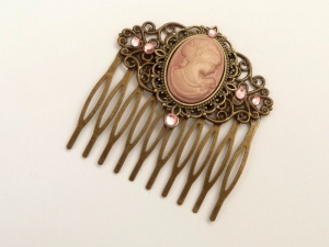 Haarkamm mit Kamee und Rosen in rosa bronze viktorianisch Haarschmuck barock rokoko Geschenk Frau - Handarbeit kaufen