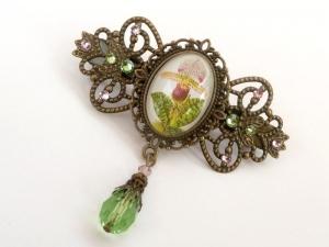 Haarspange mit Orchidee Motiv grün bronzefarben Geschenkidee Frau - Handarbeit kaufen