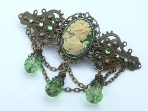 Edle Kamee Haarspange in grün bronzefarben Antik Stil barock rokoko Haarschmuck Geschenkidee Mädchen - Handarbeit kaufen