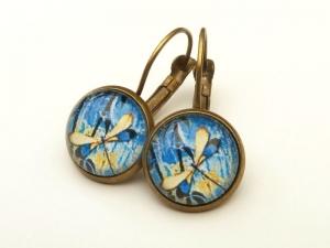 Ohrringe mit Libelle Motiv blau bronzefarben Geschenkidee Frau - Handarbeit kaufen
