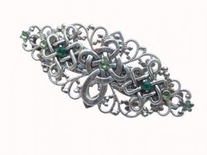 Irland Haarspange mit keltischem Kreuz silberfarben grün irische Braut Geschenkidee Frau - Handarbeit kaufen