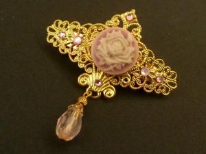 Kleine Kamee Haarspange mit Rose goldfarben Geschenkidee Mädchen - Handarbeit kaufen