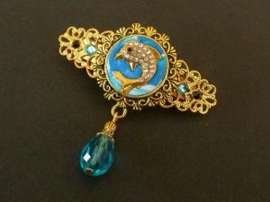Kleine Unikat Haarspange mit Glitzer Delfin gold blau maritimer Haarschmuck Meer See Geschenk Frau - Handarbeit kaufen