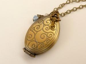 Elegante Medaillon Halskette für 4 Fotos antik Stil Schmuck Geschenkidee Frau - Handarbeit kaufen