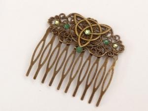 Irland Haarkamm mit keltischen Knoten in grün bronze Geschenkidee Mädchen - Handarbeit kaufen