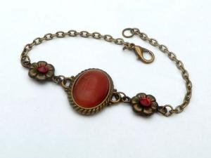 Elegantes Armband mit Katzenauge Cabochon in rot orange bronzefarben Geschenkidee Frau - Handarbeit kaufen