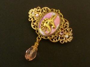 Kleine Haarspange mit Einhorn in rosa gold Mädchen Haarschmuck Geschenkidee Frau - Handarbeit kaufen