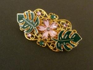 Kleine Haarspange mit Blättern und Blüte rosa gold grün Emaille Haarschmuck Geschenk Mädchen - Handarbeit kaufen