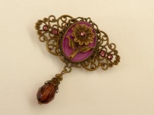 Emaille Brosche mit Blüte in lila bronze Dekollete Schmuck Schal Clip Geschenkidee Frau - Handarbeit kaufen