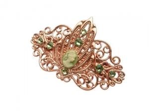 Kleine Kamee Haarspange rotgold grün art deco Stil Geschenkidee Frau - Handarbeit kaufen