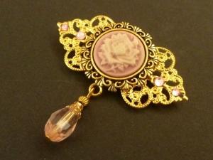 Nostalgische Kamee Brosche mit Rose in rosa gold Geschenkidee Frau - Handarbeit kaufen