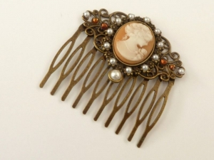 Kamee Haarkamm im Barock Stil braun bronze antik Haarschmuck Geschenkidee Frau - Handarbeit kaufen