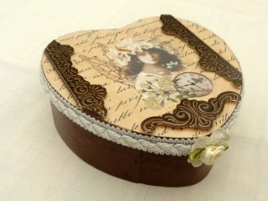 Große Herz Schmuckschatulle Vintage Stil Spanholz mit Elfe Geschenkidee für Mädchen und Frauen - Handarbeit kaufen
