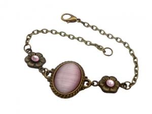 Elegantes Armband mit Katzenauge Cabochon in rosa bronzefarben Geschenkidee Frau - Handarbeit kaufen