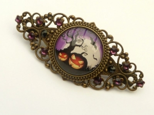 Halloween Haarspange mit Kürbis Motiv bronzefarben Geschenkidee Mädchen - Handarbeit kaufen