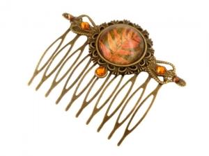 Herbstlicher Haarkamm mit Blatt Motiv in bronze orangefarben Geschenkidee Frau - Handarbeit kaufen