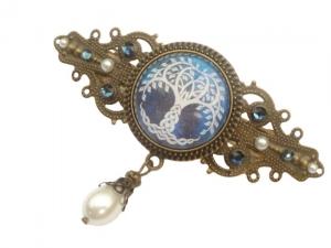 Irland Haarspange mit Baum in blau bronzefarben keltische Knoten Geschenkidee Frau - Handarbeit kaufen