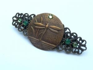 Kleine Haarspange mit Libelle Motiv im Art Deco Stil bronzefarben Geschenk Frau - Handarbeit kaufen