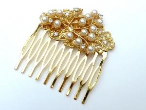 Eleganter Haarkamm mit Strass und Perlen Braut Haarschmuck festlich Hochsteckfrisur - Handarbeit kaufen