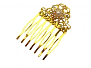 Kleiner Haarkamm mit Perlen und Strass goldfarben Braut Haarschmuck Geschenkidee Frau - Handarbeit kaufen