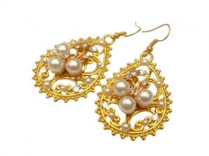 Glamouröse Tropfen Ohrringe goldfarben mit Perlen und klarem Strass Braut Ohrschmuck - Handarbeit kaufen