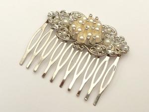 Edler Haarkamm mit Perlen und klarem Strass festlicher Haarschmuck Braut Geschenkidee - Handarbeit kaufen