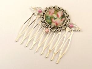 Haarkamm mit Magnolien Blüten rosa silberfarben festlicher Haarschmuck Geschenk Frau - Handarbeit kaufen