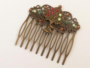 Haarkamm mit Baum und Katze rot grün bronze nostalgischer Haarschmuck, Geschenkidee Frau - Handarbeit kaufen