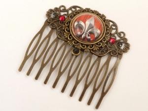 Eleganter Haarkamm mit Fleur de Lis Motiv in rot bronze Geschenkidee Frau - Handarbeit kaufen