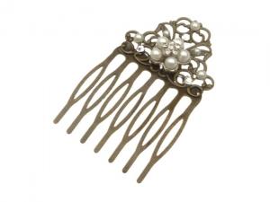Kleiner Haarkamm mit Perlen und Strass festlicher Haarschmuck Hochsteckfrisur Braut - Handarbeit kaufen