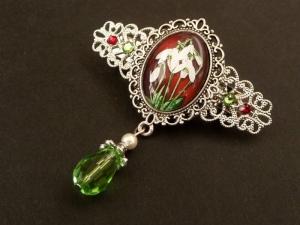 Kleine Haarspange mit Schneeglöckchen Motiv in rot grün silber Blumen Haarschmuck Geschenk Frau