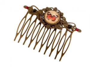 Eleganter Haarkamm mit Schmetterling Motiv braun-schwarz-bronzefarben Geschenkidee Frau - Handarbeit kaufen