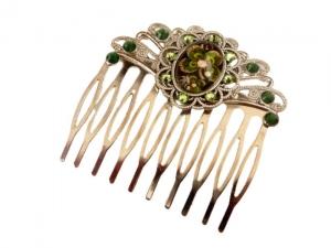 Haarkamm mit vierblättrigem Kleeblatt grün silberfarben Glücksbringer Haarschmuck Geschenkidee Frau - Handarbeit kaufen