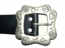 Ledergürtel handgefertigt L 87cm schwarz