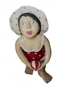 Keramik Figur handgetöpfert Badenixe Rosi 52cm kaufen