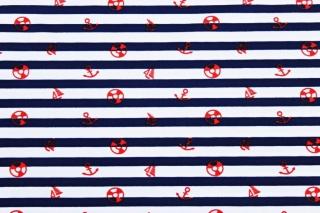Badestoff ♥ Swimwear ♥ Anker ♥ Streifen ♥ maritim ♥ Dunkelblau/Weiß