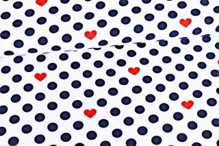 Jersey ♥ Dots & Hearts ♥ Weiß